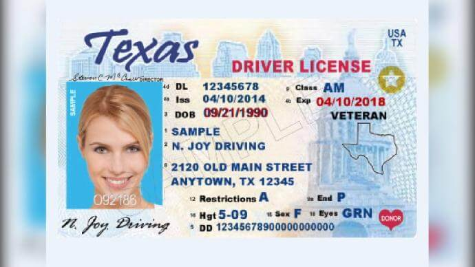 Copy of Texas Driver's License with a gold star on it